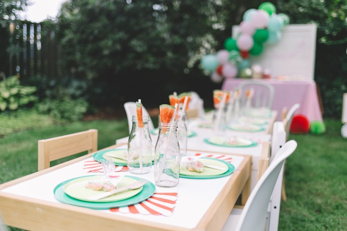 Watermelon Themed Party Table from an End of Summer Watermelon Party on Kara's Party Ideas | KarasPartyIdeas.com (27)