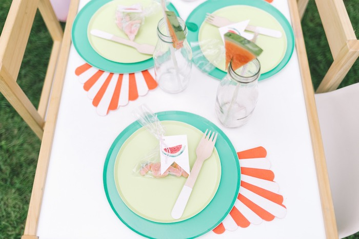 Watermelon Themed Table Setting from an End of Summer Watermelon Party on Kara's Party Ideas | KarasPartyIdeas.com (26)