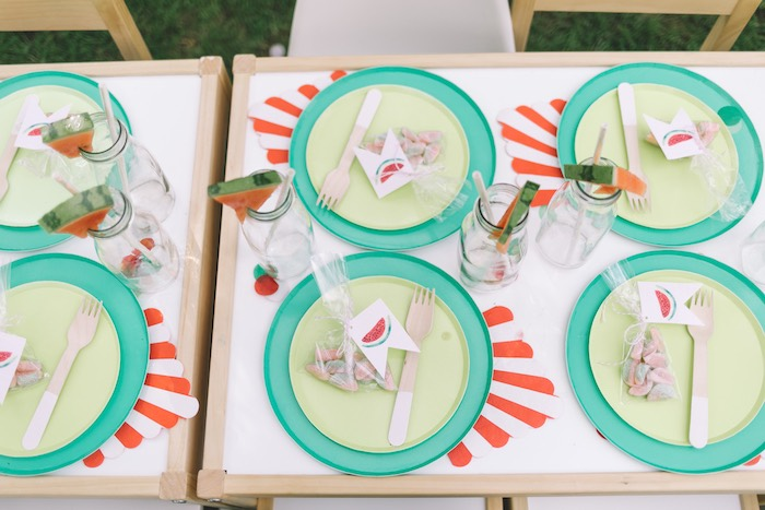 Watermelon Themed Table Settings from an End of Summer Watermelon Party on Kara's Party Ideas | KarasPartyIdeas.com (25)