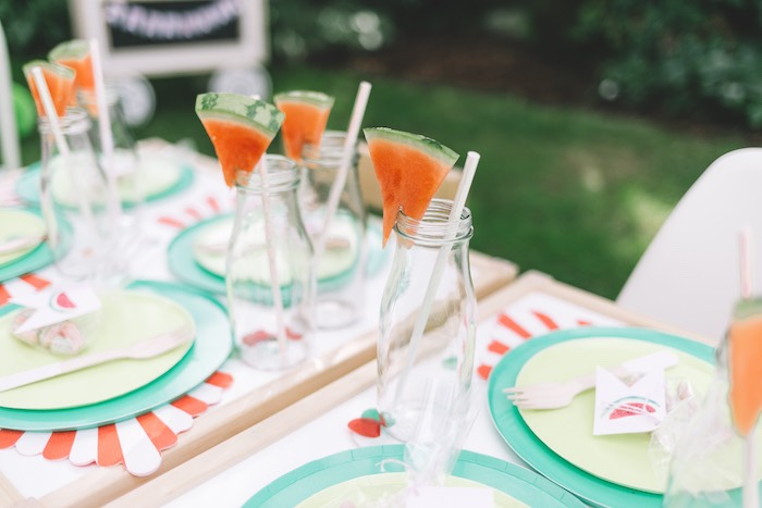 Watermelon Slice-topped Milk Jars from an End of Summer Watermelon Party on Kara's Party Ideas | KarasPartyIdeas.com (23)
