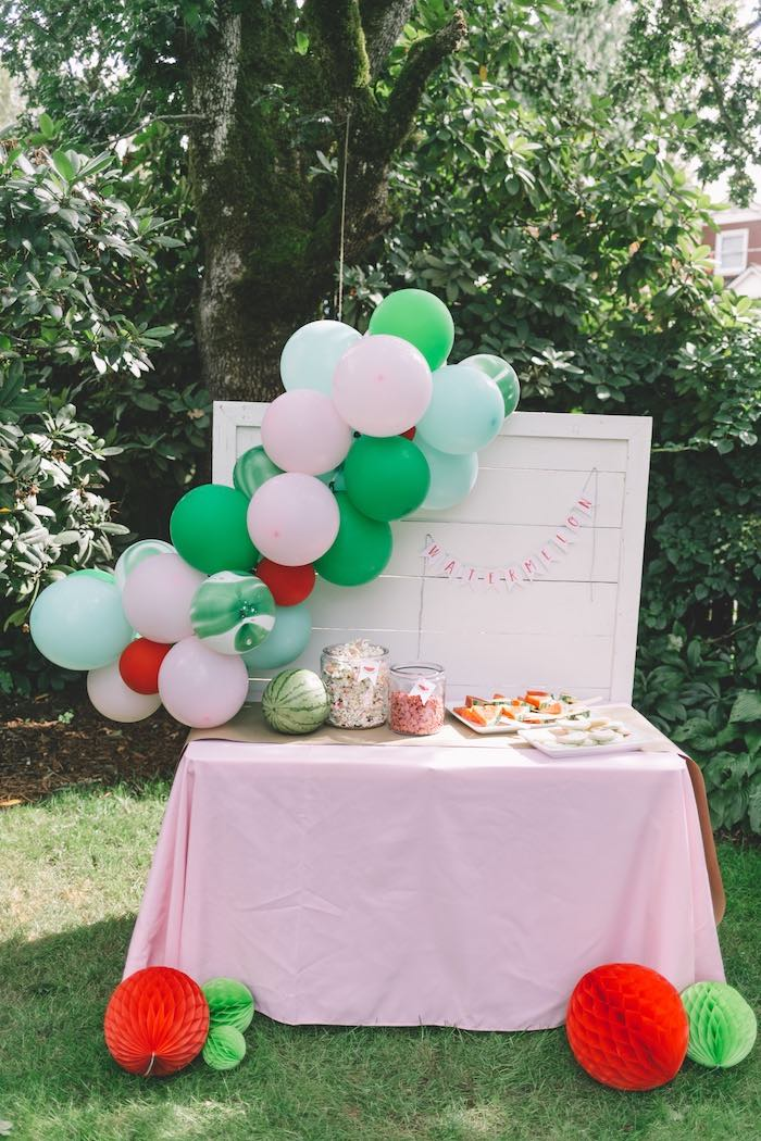 Watermelon Themed Party Table from an End of Summer Watermelon Party on Kara's Party Ideas | KarasPartyIdeas.com (21)
