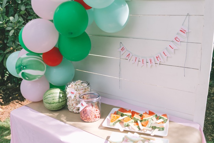 Watermelon Themed Party Table from an End of Summer Watermelon Party on Kara's Party Ideas | KarasPartyIdeas.com (20)