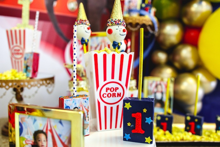 Clown Cake Pops in Popcorn Box from a First Birthday Carnival Party on Kara's Party Ideas | KarasPartyIdeas.com (16)