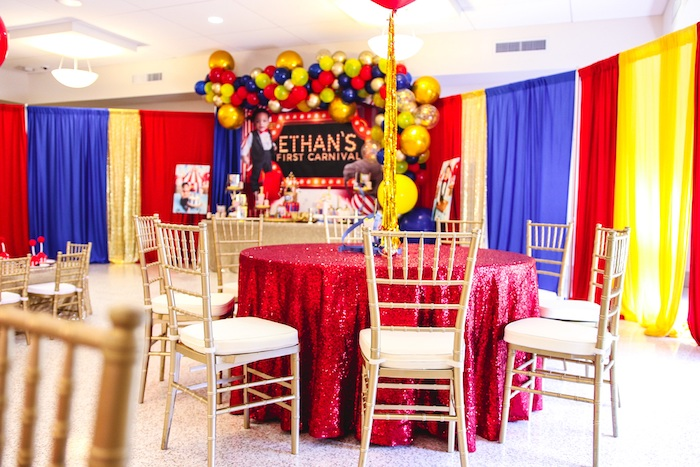 Red + Gold Glam Guest Table from a First Birthday Carnival Party on Kara's Party Ideas | KarasPartyIdeas.com (14)