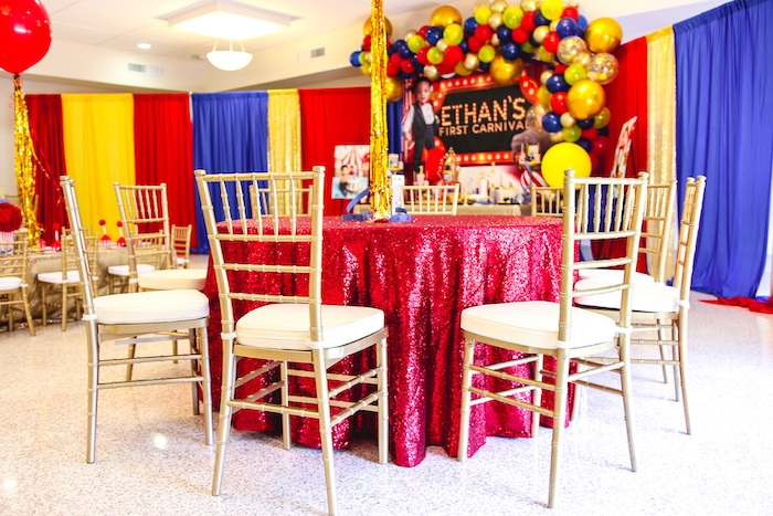 Red + Gold Glam Guest Table from a First Birthday Carnival Party on Kara's Party Ideas | KarasPartyIdeas.com (13)