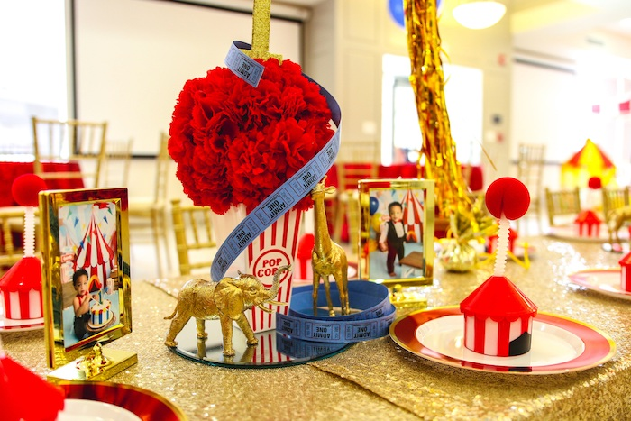 Carnival Themed Centerpiece + Table Setting from a First Birthday Carnival Party on Kara's Party Ideas | KarasPartyIdeas.com (11)