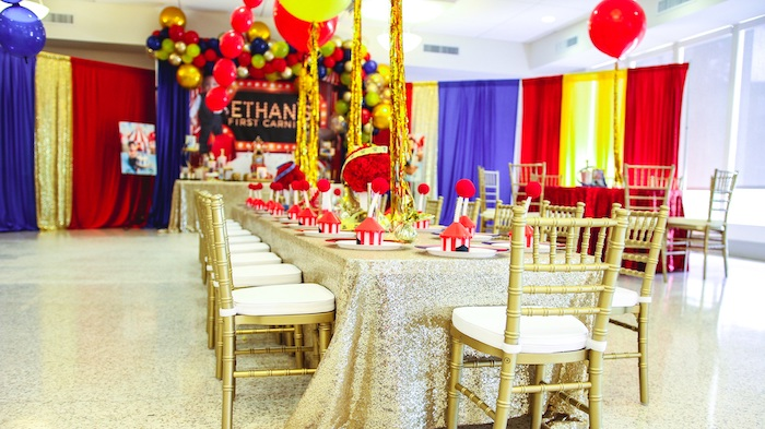 Gold Glam Carnival Themed Guest Table from a First Birthday Carnival Party on Kara's Party Ideas   KarasPartyIdeas.com (7)