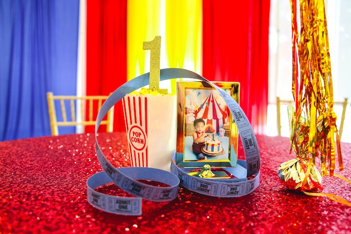 Carnival Themed Ticket Table Centerpiece from a First Birthday Carnival Party on Kara's Party Ideas | KarasPartyIdeas.com (24)
