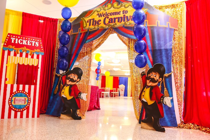 Carnival Party Entrance Arch from a First Birthday Carnival Party on Kara's Party Ideas | KarasPartyIdeas.com (22)