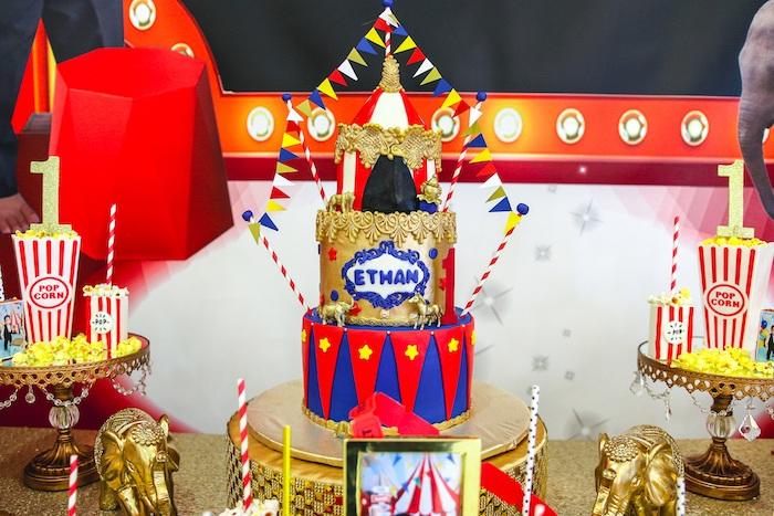 Carnival/Circus Themed Birthday Cake from a First Birthday Carnival Party on Kara's Party Ideas | KarasPartyIdeas.com (20)