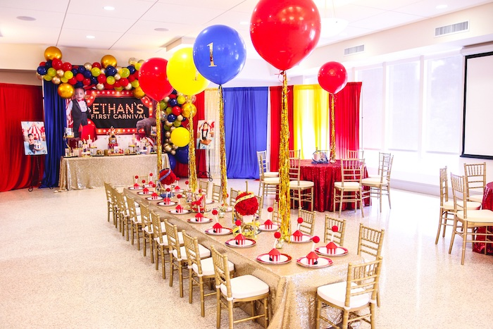 Carnival Themed Guest Table from a First Birthday Carnival Party on Kara's Party Ideas | KarasPartyIdeas.com (18)