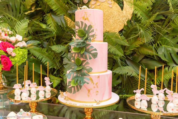 Pink Prehistoric Dinosaur Cake from a Girly Dino Soiree on Kara's Party Ideas | KarasPartyIdeas.com (37)