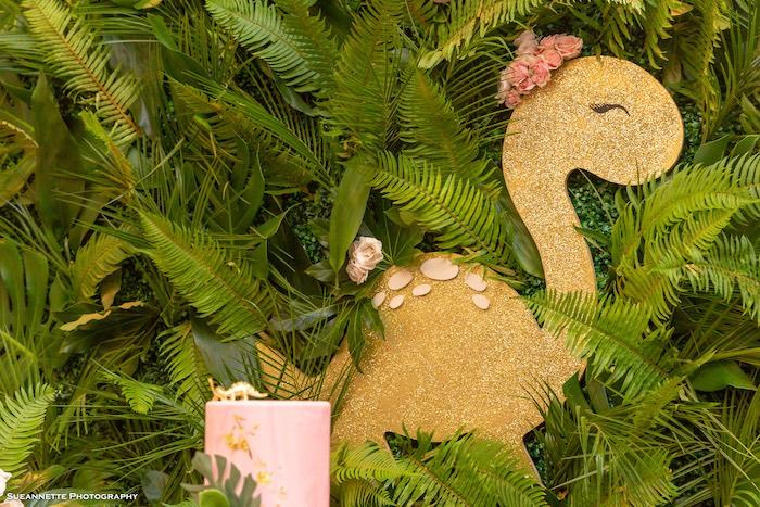 Gold Dinosaur Backdrop from a Girly Dino Soiree on Kara's Party Ideas | KarasPartyIdeas.com (36)