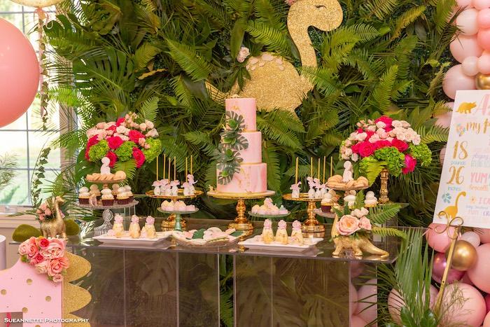 Glam Dinosaur Themed Dessert Table from a Girly Dino Soiree on Kara's Party Ideas | KarasPartyIdeas.com (26)