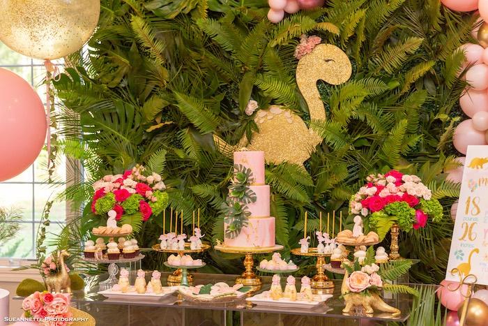 Dinosaur Themed Dessert Table from a Girly Dino Soiree on Kara's Party Ideas | KarasPartyIdeas.com (25)