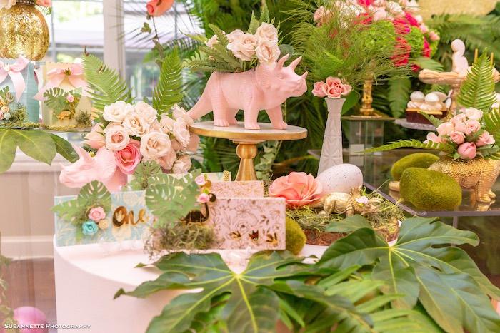 Dinosaur Party Table from a Girly Dino Soiree on Kara's Party Ideas | KarasPartyIdeas.com (23)