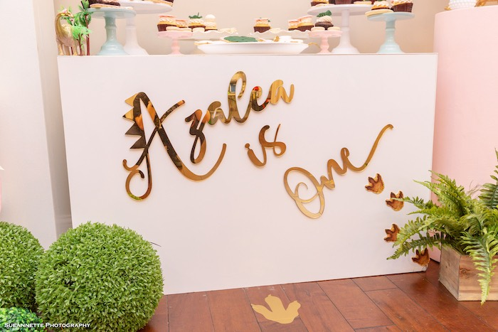 Custom Gold Dino Signage + Decal from a Girly Dino Soiree on Kara's Party Ideas | KarasPartyIdeas.com (21)