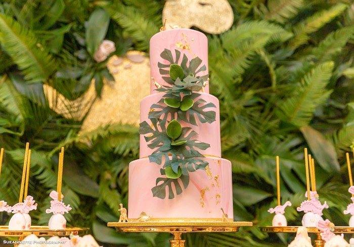Pink Dinosaur Themed Birthday Cake from a Girly Dino Soiree on Kara's Party Ideas | KarasPartyIdeas.com (13)
