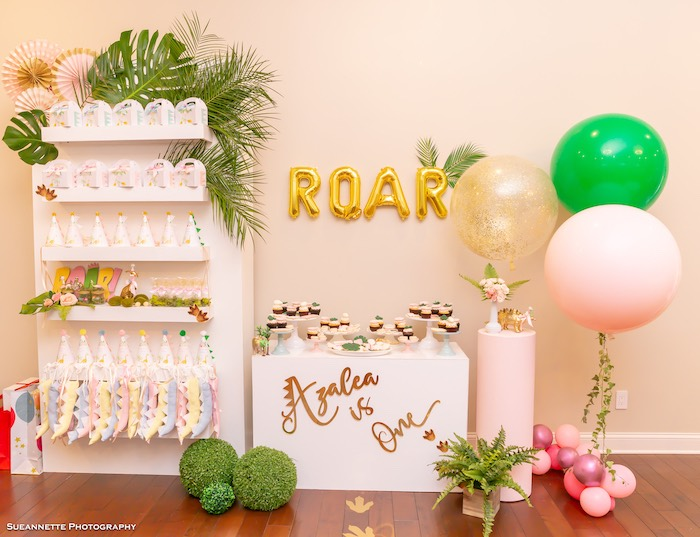 Roar Sweet Buffet + Favor Stand from a Girly Dino Soiree on Kara's Party Ideas | KarasPartyIdeas.com (10)