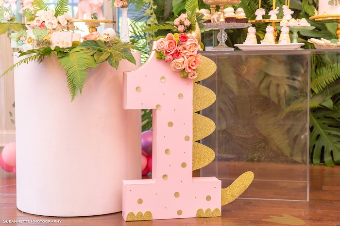 Dinosaur-spined Block Number from a Girly Dino Soiree on Kara's Party Ideas | KarasPartyIdeas.com (42)