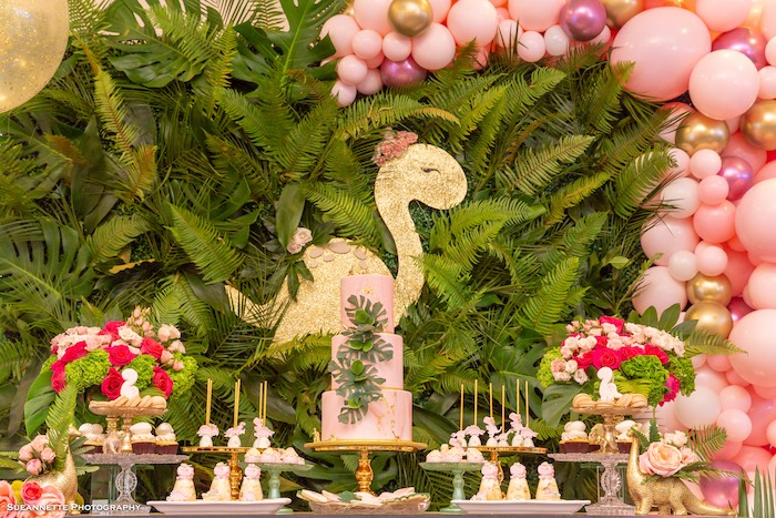 Pink Glam Dinosaur Themed Dessert Table from a Girly Dino Soiree on Kara's Party Ideas | KarasPartyIdeas.com (41)