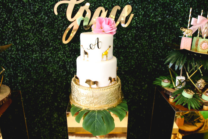Safari Themed Cake from a Glamorous Gold Safari Baby Shower on Kara's Party Ideas | KarasPartyIdeas.com (17)