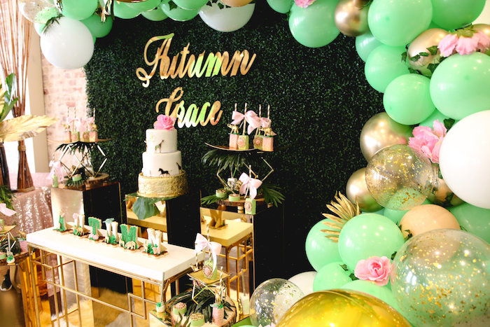 Safari Themed Dessert Table from a Glamorous Gold Safari Baby Shower on Kara's Party Ideas | KarasPartyIdeas.com (16)