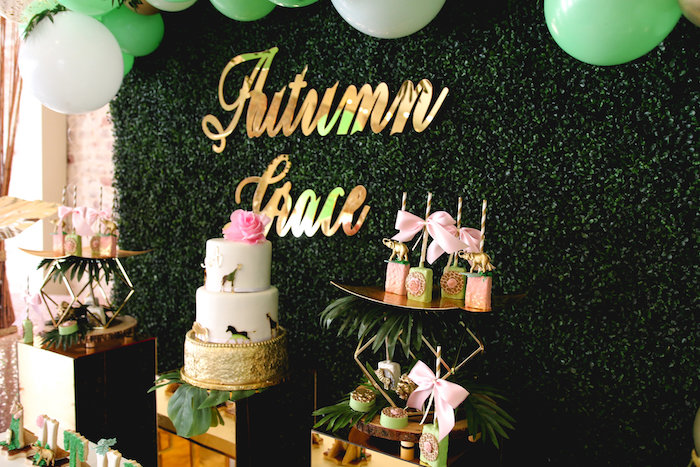 Birchwood Backdrop with Gold Name Sign from a Glamorous Gold Safari Baby Shower on Kara's Party Ideas | KarasPartyIdeas.com (14)