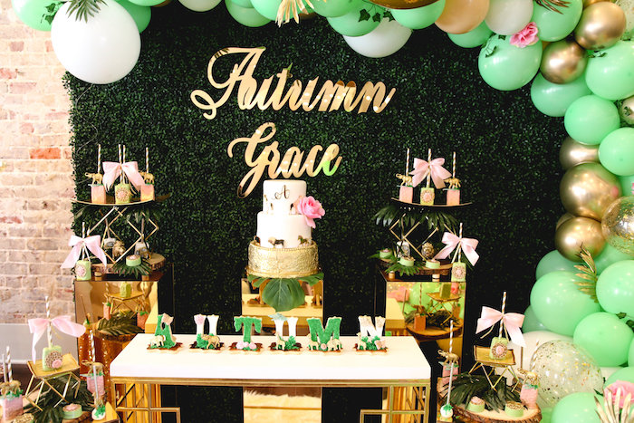 Safari Themed Dessert Table from a Glamorous Gold Safari Baby Shower on Kara's Party Ideas | KarasPartyIdeas.com (10)