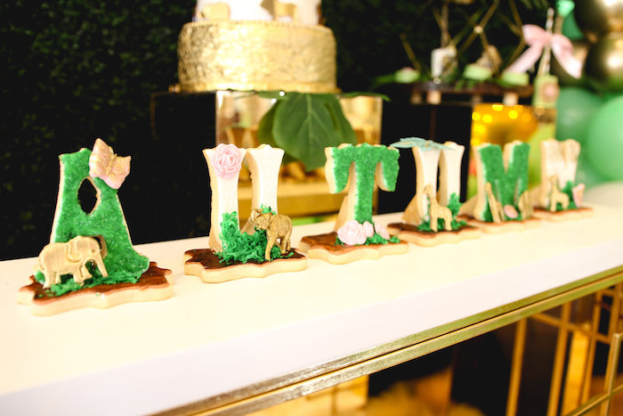 Safari Animal Name Cookies from a Glamorous Gold Safari Baby Shower on Kara's Party Ideas | KarasPartyIdeas.com (8)