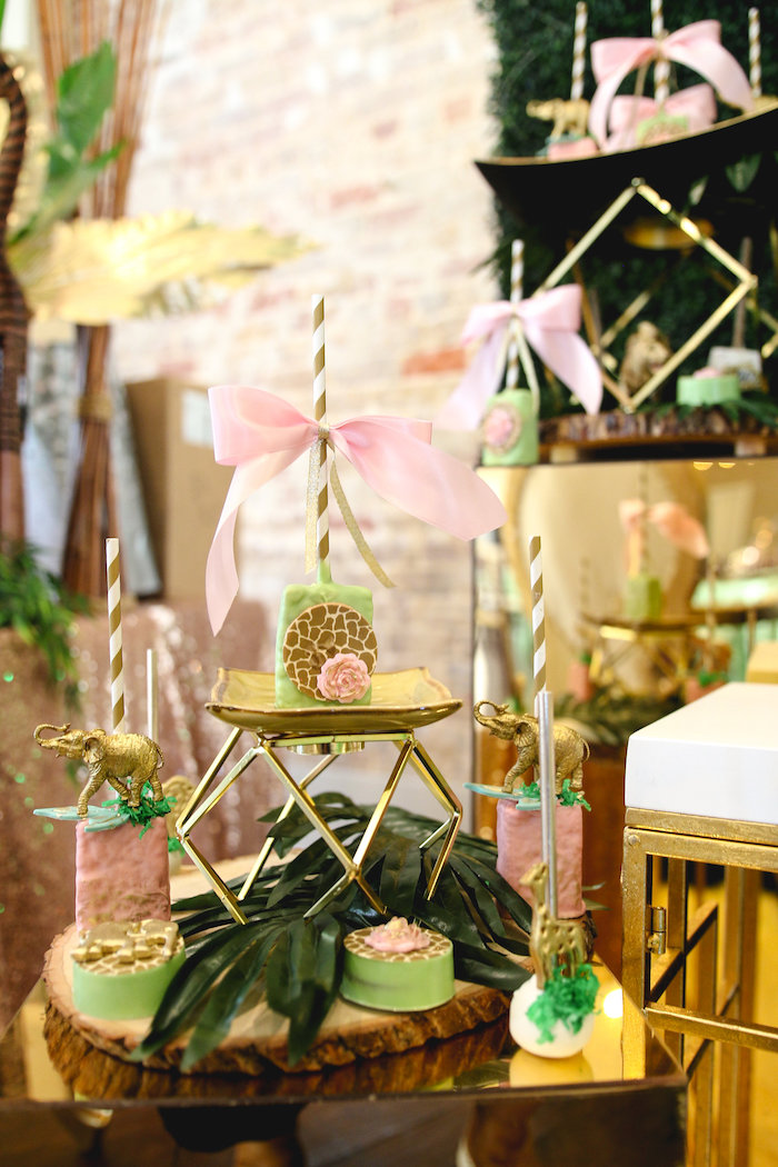Safari Sweets + Glam Dessert Stand from a Glamorous Gold Safari Baby Shower on Kara's Party Ideas | KarasPartyIdeas.com (7)