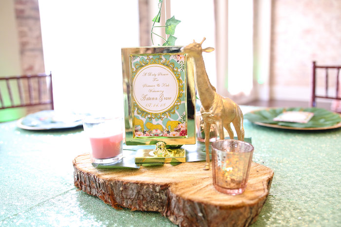 Rustic Glam Safari Themed Table Centerpiece from a Glamorous Gold Safari Baby Shower on Kara's Party Ideas | KarasPartyIdeas.com (6)