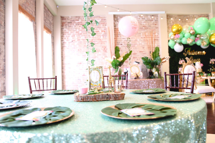 Guest Table from a Glamorous Gold Safari Baby Shower on Kara's Party Ideas | KarasPartyIdeas.com (5)