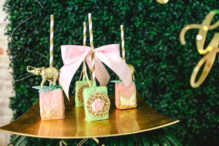 Safari Rice Krispie Treat Pops from a Glamorous Gold Safari Baby Shower on Kara's Party Ideas | KarasPartyIdeas.com (21)