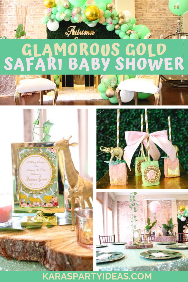 Glamorous Gold Safari Baby Shower via Kara's Party Ideas - KarasPartyIdeas.com