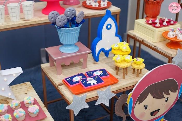 Space Themed Mini Sweet Table from a Modern Astronaut Birthday Party on Kara's Party Ideas | KarasPartyIdeas.com (15)