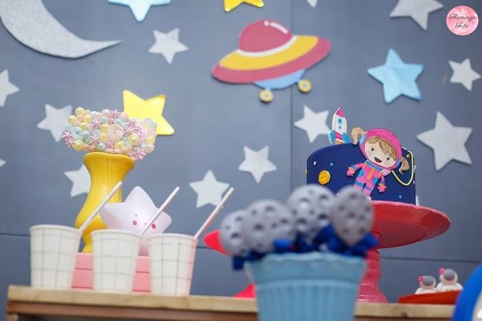 Space Themed Cake Table from a Modern Astronaut Birthday Party on Kara's Party Ideas | KarasPartyIdeas.com (12)