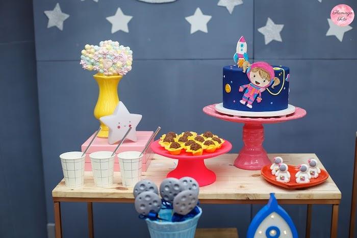 Space Themed Cake Table from a Modern Astronaut Birthday Party on Kara's Party Ideas | KarasPartyIdeas.com (11)