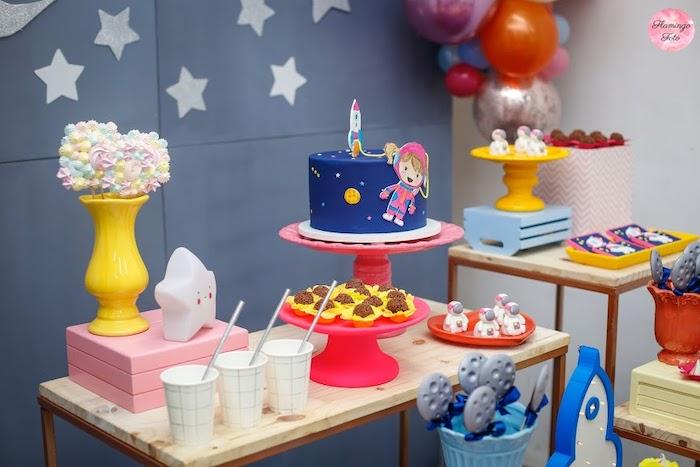 Space Themed Cake Table from a Modern Astronaut Birthday Party on Kara's Party Ideas | KarasPartyIdeas.com (10)