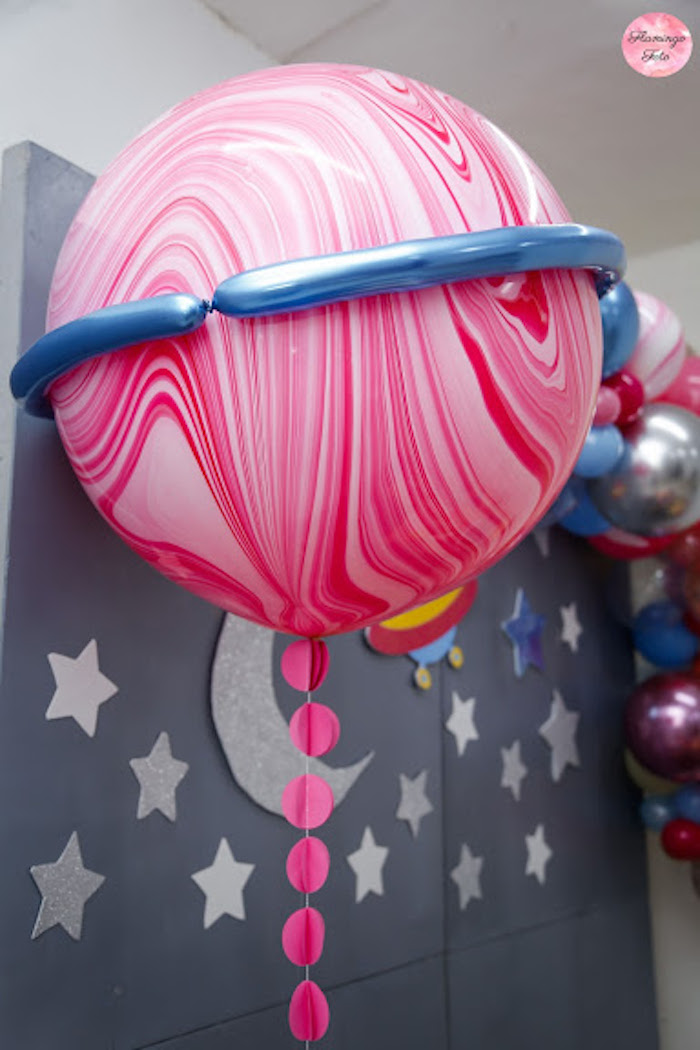 Jumbo Balloon Planet from a Modern Astronaut Birthday Party on Kara's Party Ideas | KarasPartyIdeas.com (9)