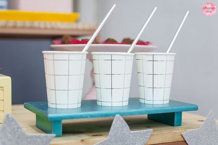Silver Striped + Checked Paper Cups from a Modern Astronaut Birthday Party on Kara's Party Ideas | KarasPartyIdeas.com (24)