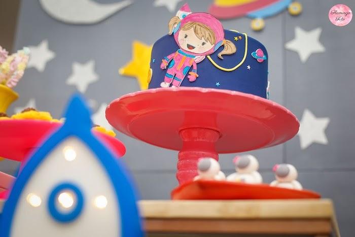 Astronaut Cake from a Modern Astronaut Birthday Party on Kara's Party Ideas | KarasPartyIdeas.com (20)