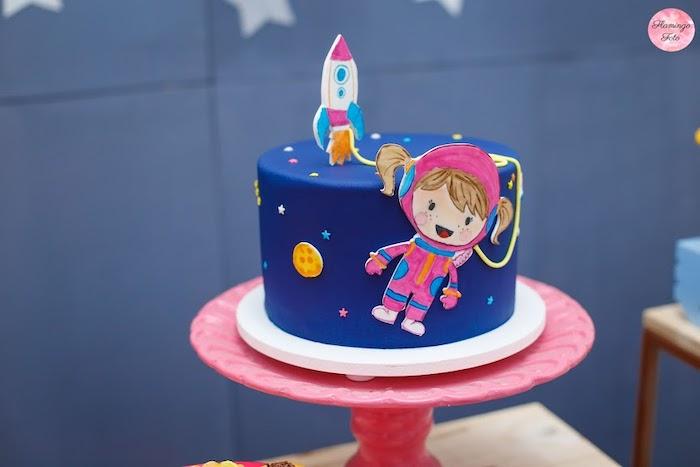 Girly Astronaut Cake from a Modern Astronaut Birthday Party on Kara's Party Ideas | KarasPartyIdeas.com (16)