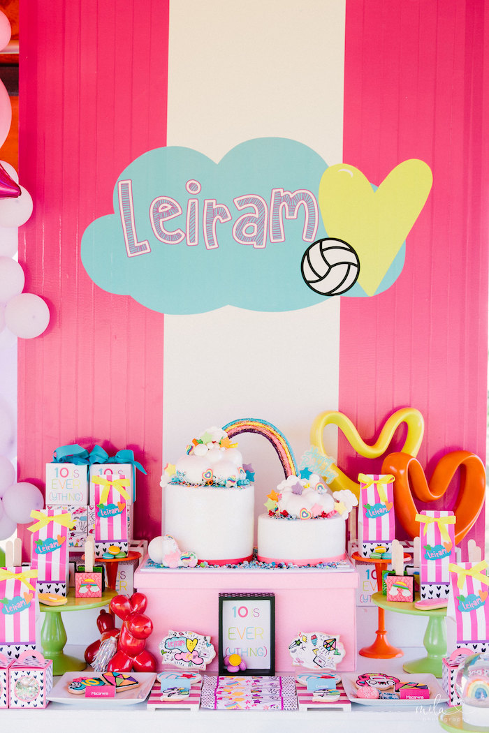 Girly Themed Dessert Table from a Modern Colorful 10th Birthday Party on Kara's Party Ideas | KarasPartyIdeas.com (26)