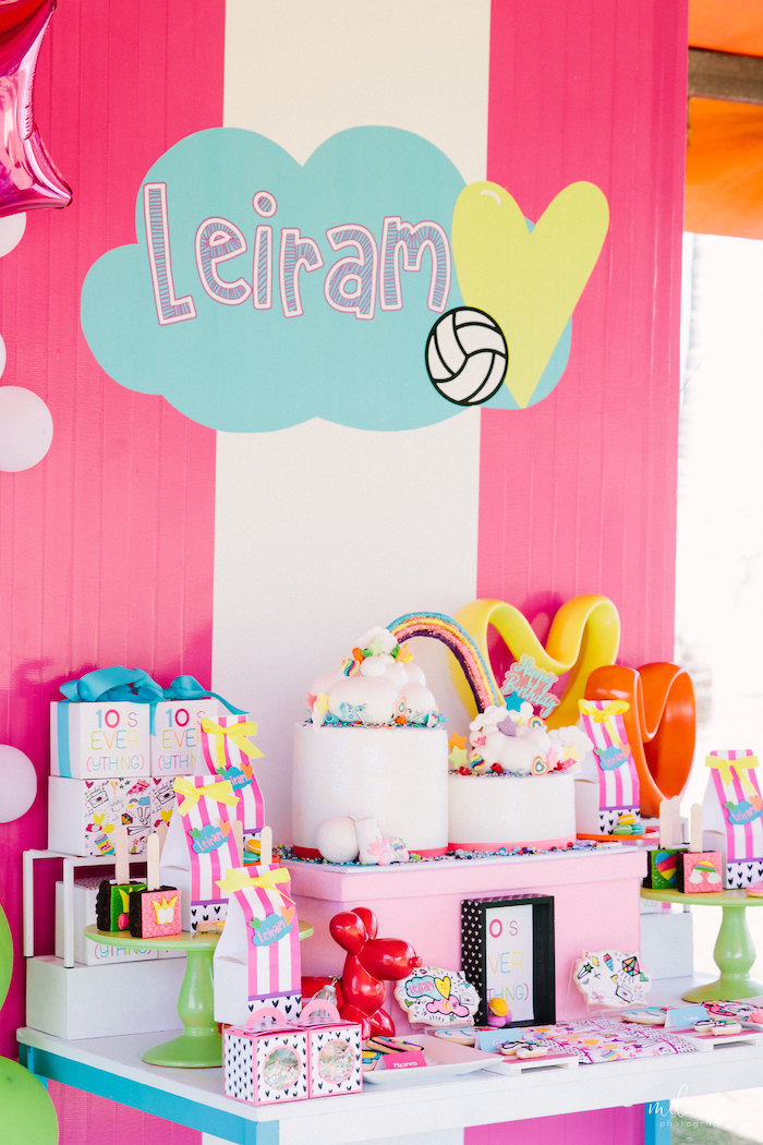 Dessert Table from a Modern Colorful 10th Birthday Party on Kara's Party Ideas | KarasPartyIdeas.com (25)