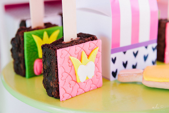 Brownie Pop from a Modern Colorful 10th Birthday Party on Kara's Party Ideas | KarasPartyIdeas.com (24)
