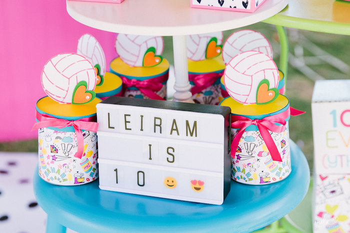 Light Box Sign + Favors from a Modern Colorful 10th Birthday Party on Kara's Party Ideas | KarasPartyIdeas.com (21)