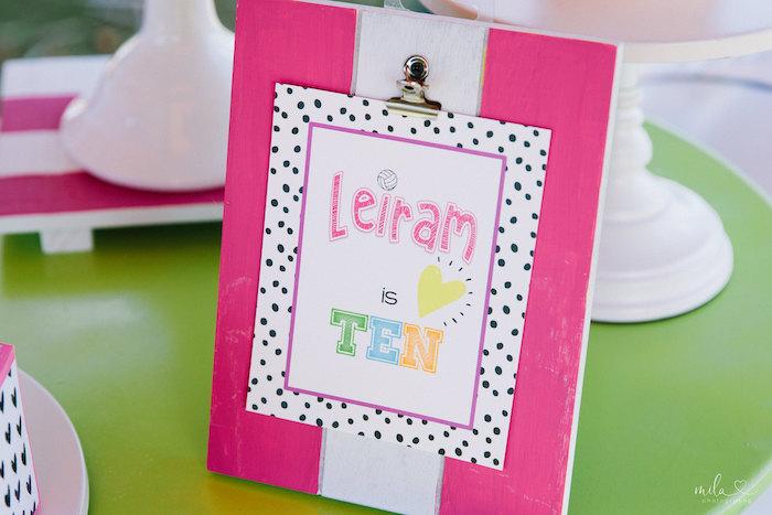 Custom Clipboard Signage from a Modern Colorful 10th Birthday Party on Kara's Party Ideas | KarasPartyIdeas.com (20)