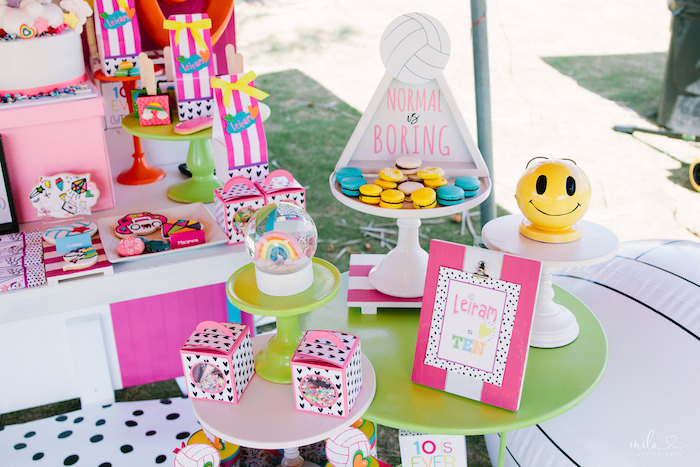 Sweet Pedestals from a Modern Colorful 10th Birthday Party on Kara's Party Ideas | KarasPartyIdeas.com (18)