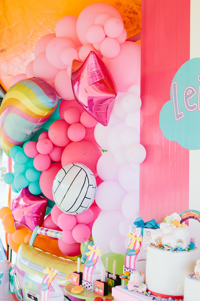 Girly Balloon Installation from a Modern Colorful 10th Birthday Party on Kara's Party Ideas | KarasPartyIdeas.com (17)